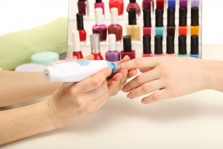 Manicure process in beauty salon, close up Stock Photo - 17979396