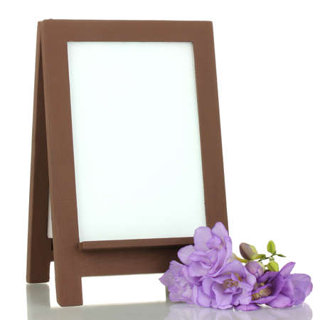 Brown photo frame as easel isolated on white photo