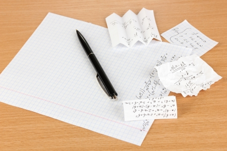 Cheat sheet on wooden table close-up Stock Photo - 17978984