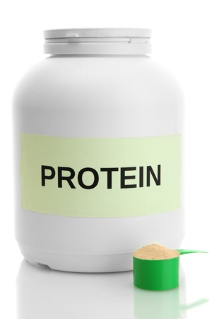 supplementary: nutritional supplement for athletes in the form of protein drinks, isolated on white Stock Photo