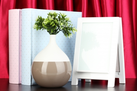 White photo frame for home decoration on curtains background Stock Photo - 18038796