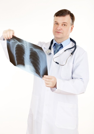 analysing: Medical doctor analysing x-ray image  isolated on white