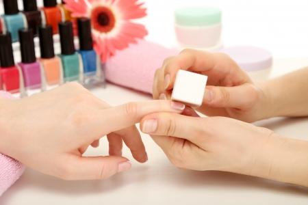 Manicure process in beauty salon, close up Stock Photo - 18038736