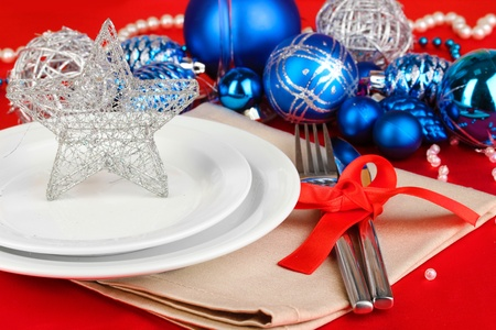 Serving Christmas table close-up Stock Photo - 18042945