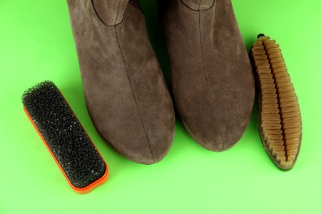 Brushes for suede shoes, on color background Stock Photo - 18042948