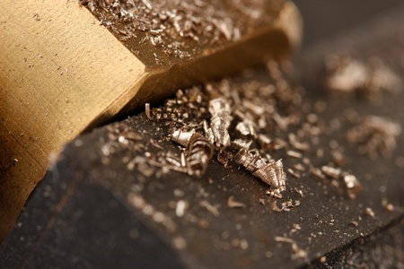 Metal shavings, close up photo