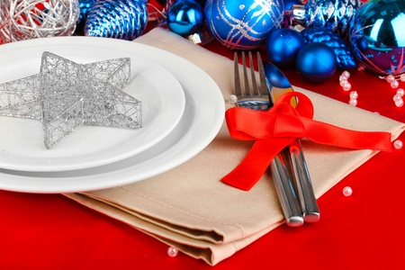 Serving Christmas table close-up Stock Photo - 18143985