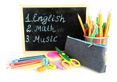 pencil box with school equipment and timetable isolated on white Stock Photo - 18143760