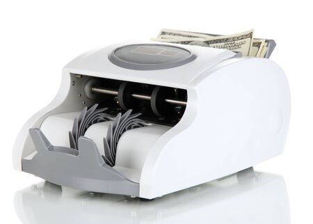 Machine for counting money isolated on white photo