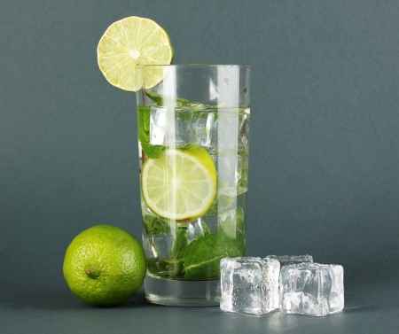 Glass of water with ice, mint and lime on grey background Stock Photo - 18143727