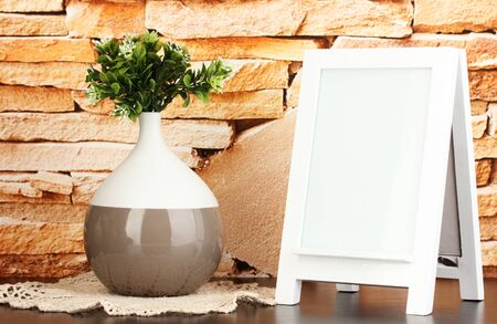 White photo frame for home decoration on stone wall background Stock Photo - 18143748