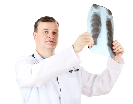 Medical doctor analysing x-ray image  isolated on white Stock Photo - 21541635