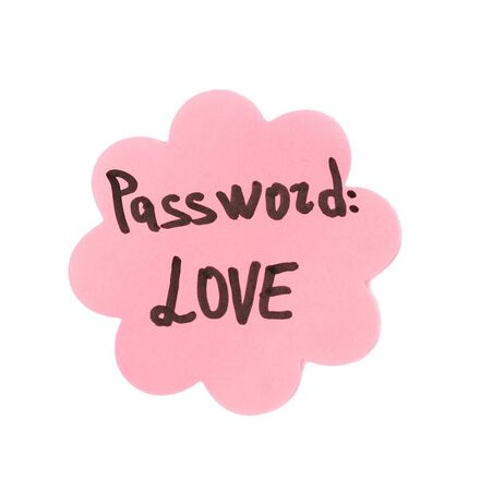 Sticker-reminder with most popular password, isolated on white Stock Photo - 18141199