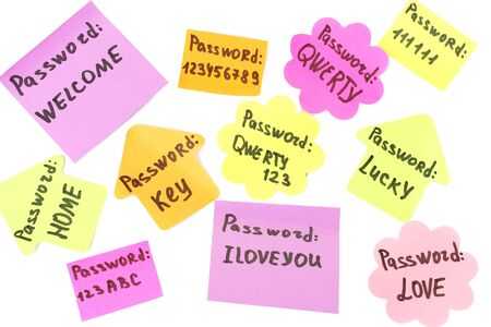 Password's reminders isolated on white photo