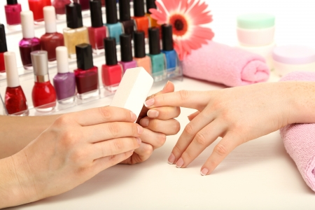 Manicure process in beauty salon, close up Stock Photo - 18143442