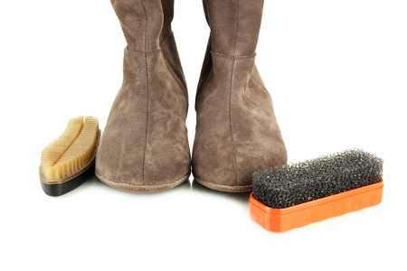 Brushes for suede shoes and female boots, isolated on white Stock Photo - 18186952