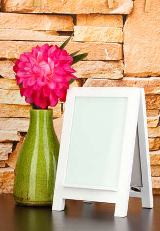 White photo frame for home decoration on stone wall background Stock Photo - 18187254