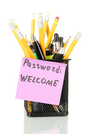 Password's reminder and office supplies, isolated on white Stock Photo - 18186587