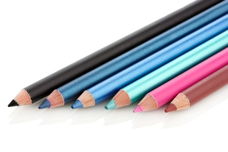 Cosmetic pencils, isolated on white photo