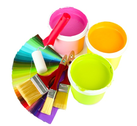 Set for painting: paint pot, brushes, paint-roller and palette of colors isolated on white Stock Photo - 18186595