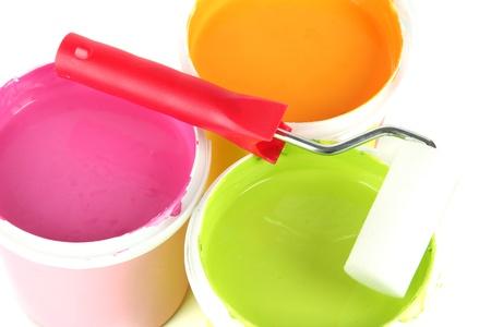 Set for painting: paint pots, paint-roller close up Stock Photo - 18186817