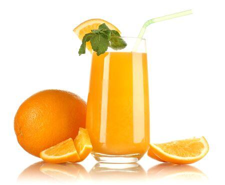 Glass of orange juice with mint and orange isolated on white photo