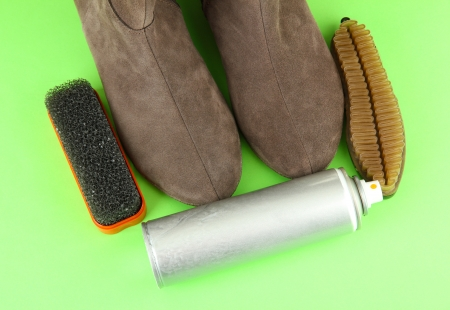Set of stuff for cleaning and polish shoes, on color background Stock Photo - 18232022