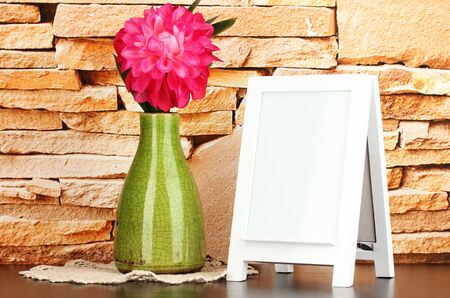 White photo frame for home decoration on stone wall background Stock Photo - 18231970