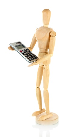 Wooden mannequin with calculator isolated on white Stock Photo - 18216119