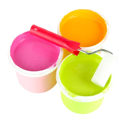 Set for painting: paint pots,  paint-roller isolated on white Stock Photo - 18216122