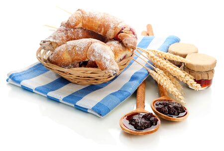 Taste croissants in basket and jam isolated on white Stock Photo - 18217042