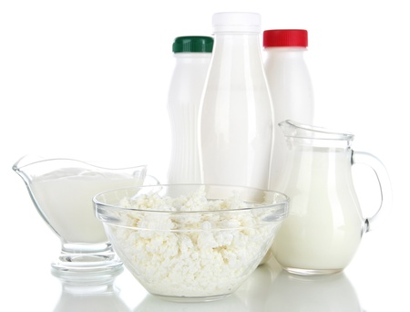 dairy products: Dairy products isolated on white