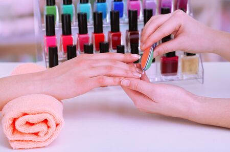 Manicure process in beauty salon, close up Stock Photo - 18230540