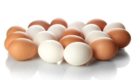 poultry farm: Many eggs isolated on white