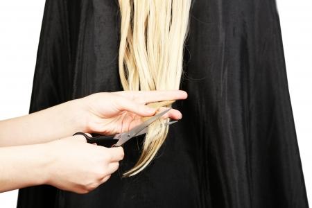 Haircut blond hair on white background photo