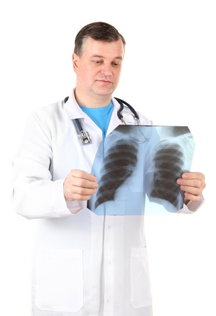 Medical doctor analysing x-ray image  isolated on white Stock Photo - 21542582