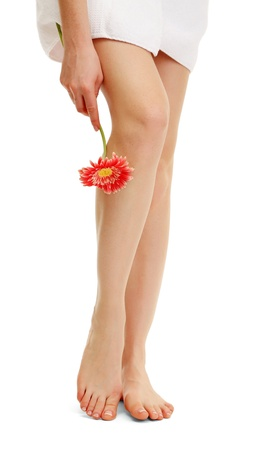 Beautiful woman legs, isolated on white photo