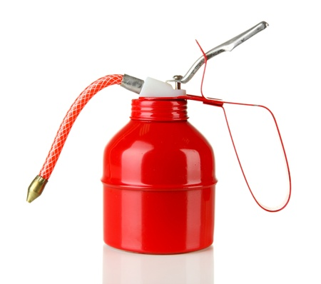 Red oil can, isolated on white Stock Photo - 18301100
