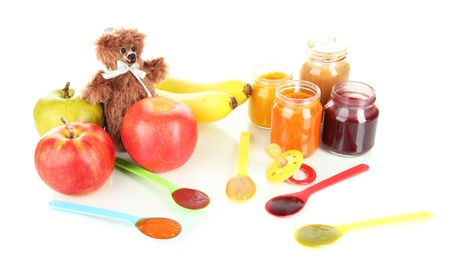 pureed: Baby puree with fruits isolated on white Stock Photo