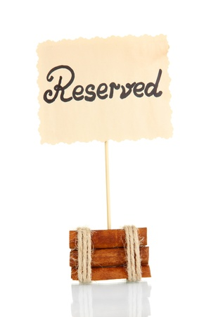 reserved sign: Reserved sign isolated on white