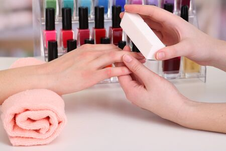 Manicure process in beauty salon, close up Stock Photo - 18325445