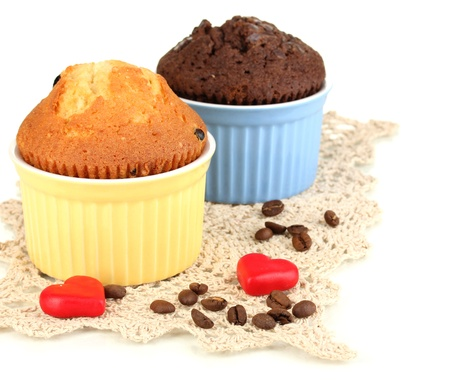 Cupcakes in bowls for baking isolated on white photo