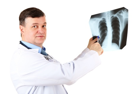 Medical doctor analysing x-ray image  isolated on white Stock Photo - 21543130