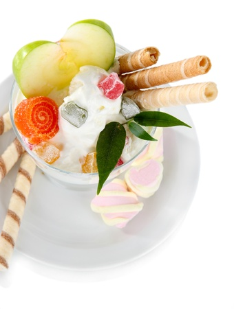 seemed: Ice cream with wafer sticks isolated on white