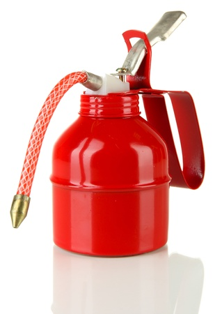Red oil can, isolated on white Stock Photo - 18447225