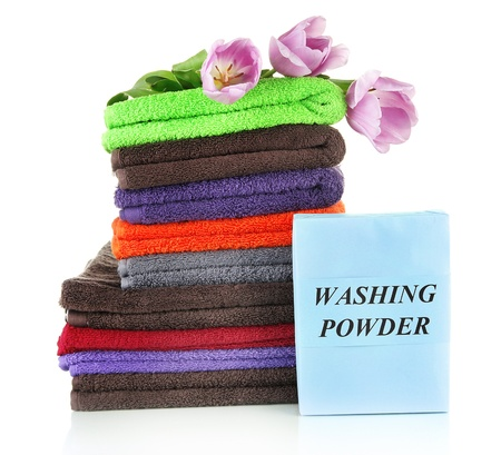 Pile of colorful towels, isolated on white Stock Photo - 18447998