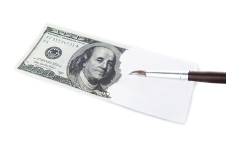 economic rent: Making fake dollar isolated on white Stock Photo