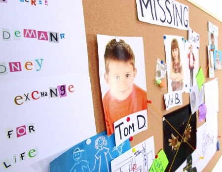 investigative: Board with evidence in case of missing children