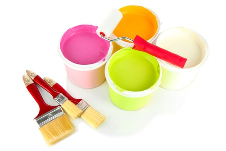 Set for painting: paint pots, brushes, paint-roller isolated on white Stock Photo - 18488941