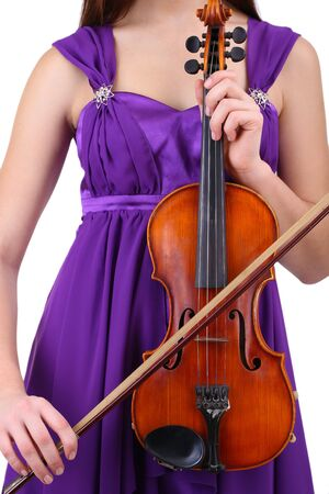 Beautiful young girl with violin, isolated on white Stock Photo - 18491061